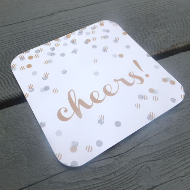 Cheers coaster by fresh paper studios