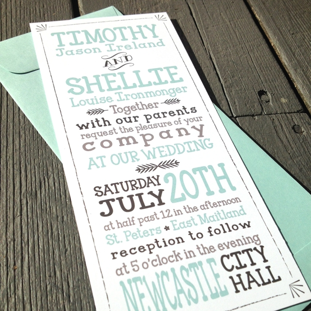 rustic typography invitation by fresh paper studios