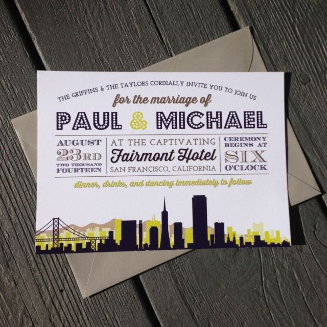 city skyline wedding invitations by fresh paper studios